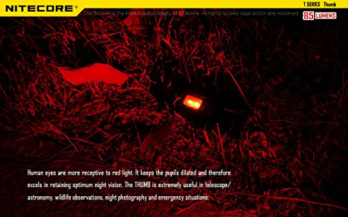 Nitecore Thumb 85 Lumens USB Rechargeable White & Red LED Keychain Light - Tiltable Work Light with Clip and a LumenTac USB Charging Cable