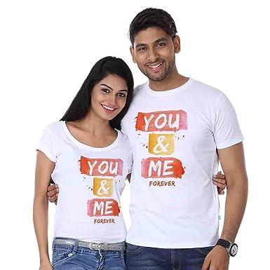 d9bada4fc3 Mozi Lifestyle You and Me Couple Combo Tshirt White: Amazon.in ...
