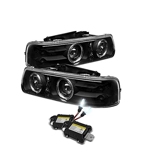 Eautolight 99-02 Chevy Silverado Black Halo LED Projector Head Lights + Bumper Light + 6k HID