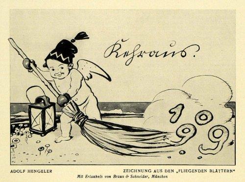 1913 Print Drawing Baby Sweep Cloud Wing Scroll Flying Adolf Hengeler German Art - Original Halftone Print