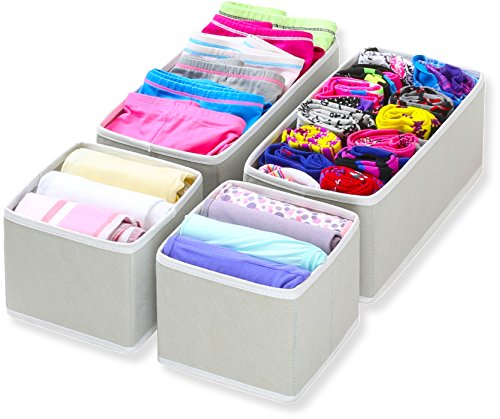 SimpleHouseware Foldable Cloth Storage Box Closet Dresser Drawer Divider Organizer Basket Bins for Underwear Bras, Gray (Set of 4) (Drawer Small Dresser)