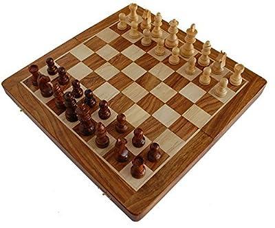 "#1 Chess Set - BKRAFT4U 10 x 10"" Chess Set - Premium Handmade Wooden Foldable Magnetic Chess Game Board with Storage Slots, 10 inch …"
