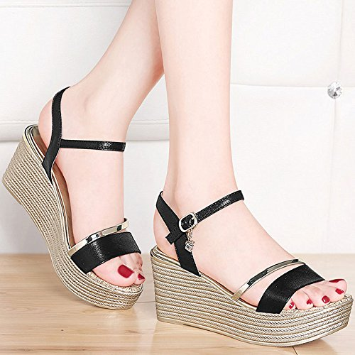 AJUNR-Zapatos De Mujer De Moda Bizcocho Gruesos Zapatos De Mujer Con 7Cm De Alto, La Pendiente De La Versión Coreana Del Verano Con El Elegante Escritorio Impermeable Negro 39 36