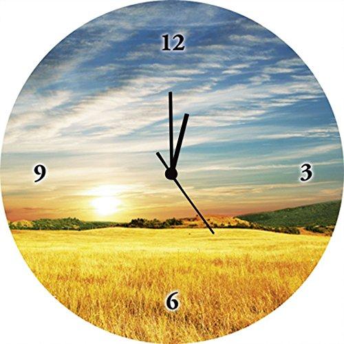 Artland Qualitätsuhren I Funk Wanduhr Designer Uhr Glas Funkuhr Größe: 35 Ø Felder Orange G1NY