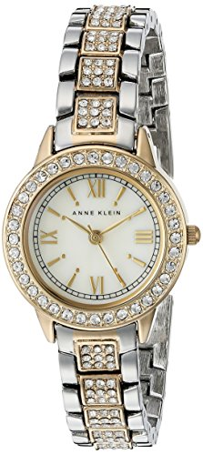 Anne Klein Ladies Crystal - Anne Klein Women's AK/1493MPTT Swarovski Crystal Accented Two-Tone Bracelet Watch