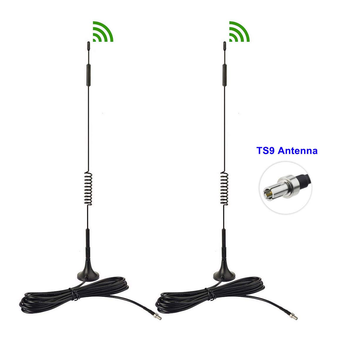 Bingfu 4G LTE 7dBi Magnetic Base TS9 Antenna (2-Pack) for MiFi Mobile Hotspot Router USB Modem Verizon Jetpack 8800L 7730L AC791L 6620L AT&T ZTE Velocity Netgear LB1120 Nighthawk M1 MR1100 Unite 770S by Bingfu
