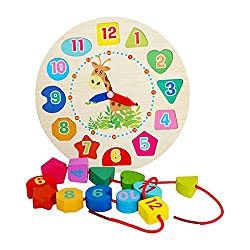 zhenyu 12 Numbers Alarm Clock Wooden Colorful Beads Puzzle Toy Digital Geometry Cognitive Matching Clocks Kids Early Educational Toys