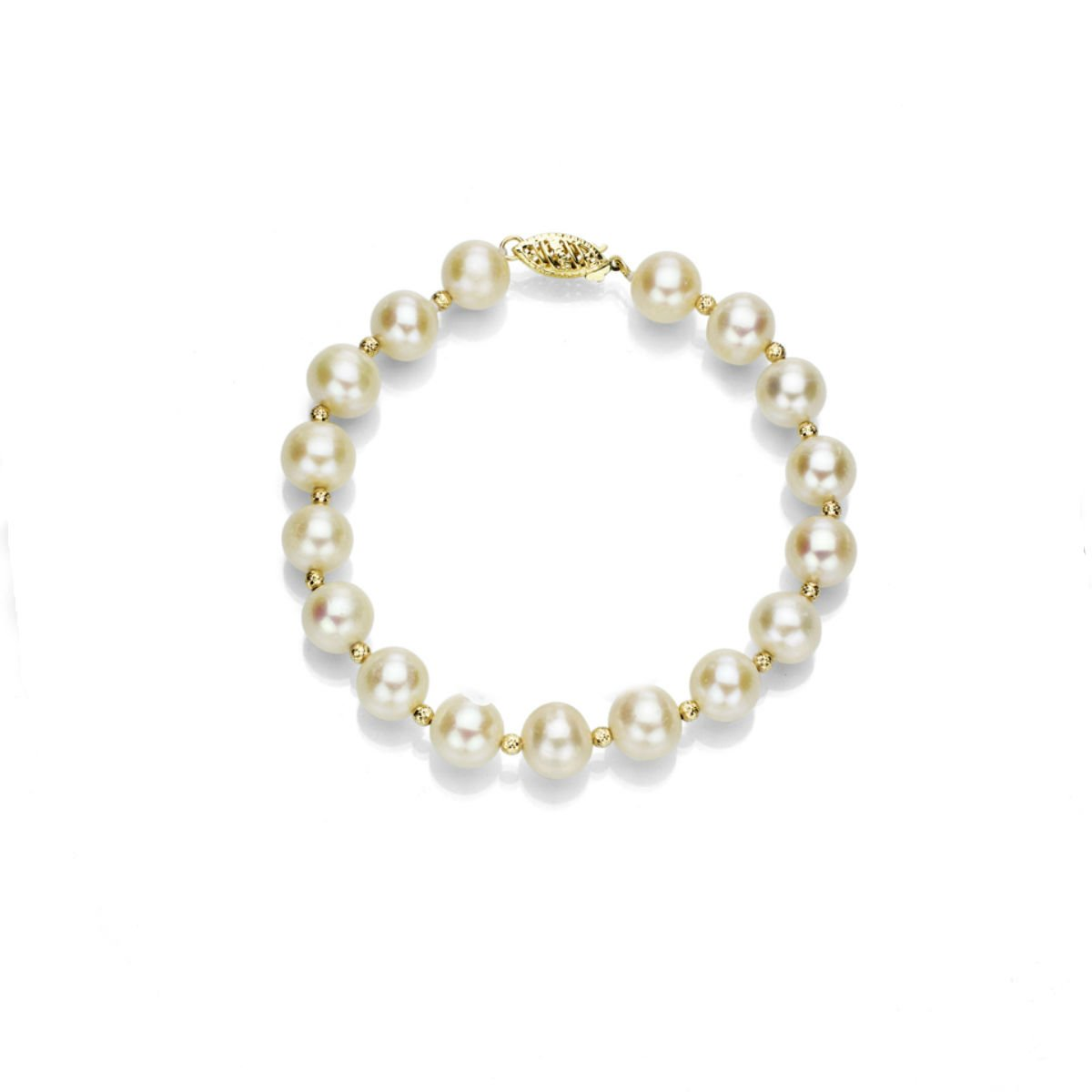 14k Yellow Gold 7-7.5mm White Freshwater Cultured Pearl Bracelet with 3mm Sparkling Gold Beads, 7.25''