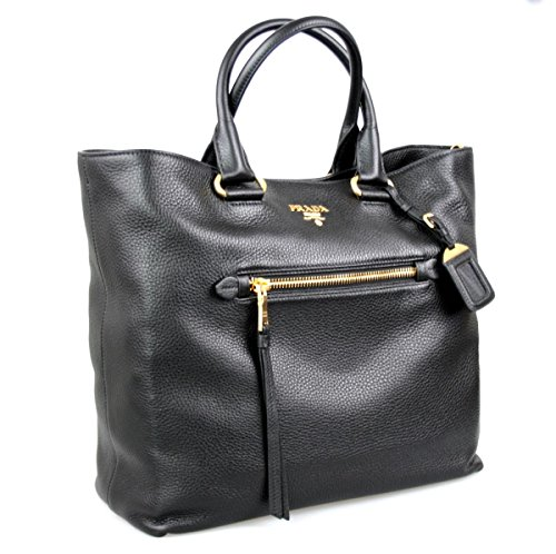 Prada Women's BN2754 UWL F0002 Black Leather Shopper