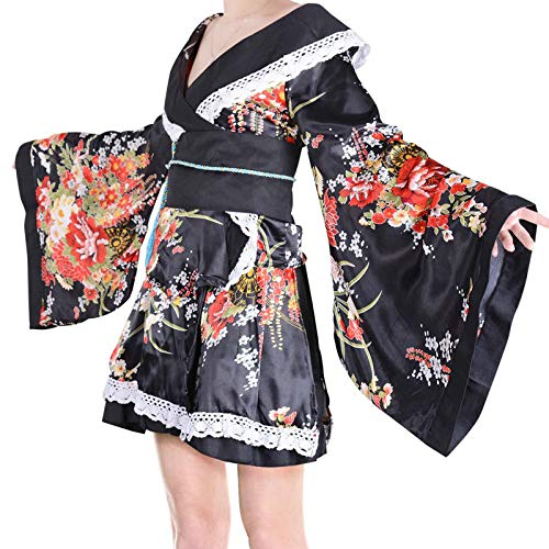 Deluxe Kimono Robe Ladies Geisha Costume Women's Japanese Traditional Fancy Dress Bow Belt Short Style (Black)