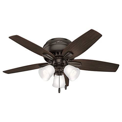 Hunter Indoor Low Profile Ceiling Fan, with pull chain control – Newsome 42 inch, Premier Bronze, 51078