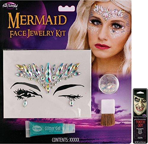 Potomac Banks Facial Jewelry Stones Makeup Kit (Mermaid) with Free Pack of Makeup ()