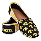 NCAA Womens College Ladies Canvas Slip-On Summer Shoes - Pick Team (Stripes - Iowa Hawkeyes, Medium)