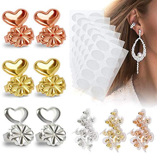 Earring Lifters, 3 Set Adjustable Hypoallergenic Sterling Silver Ear Lifters, 30 Pairs Earlobes Earring Support &Stabilizer Patches, 30 Pairs Bullet Clutch Safety Earring Backs (SILVER/GOLD/ROSE GOLD)
