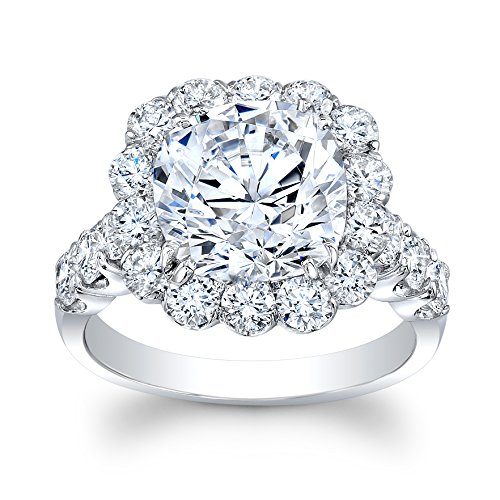 14k Shared Prong - Women's 14k white gold shared prong cushion halo engagement ring 5.20 TCW
