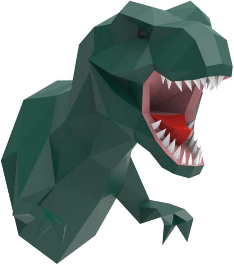 ENDARK T-Rex Head Wall Decor, DIY Papercraft Cardboard Animal 3D Head Wall Mount Tyrannosaurus Rex Paper Trophy (Green)