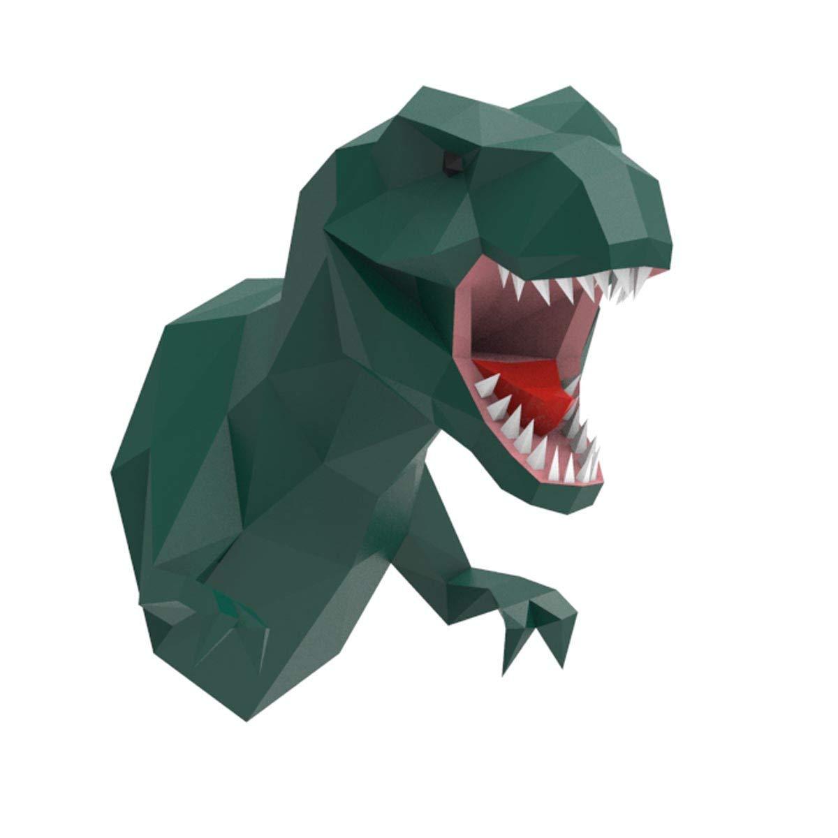 ENDARK T-Rex Head Wall Decor, DIY Papercraft Cardboard Animal 3D Head Wall Mount Tyrannosaurus Rex Paper Trophy Green