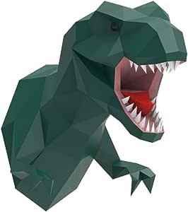15.7x13.5Inch Animal Dino Paper Craft Building Kit Wall Mount CHEERM DIY 3D Dinosaur Head Wall Decoration Origami Paper Model Creative Ornaments Art Crafts Home Decor Green