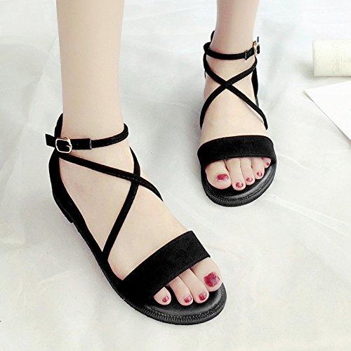 RUGAI-UE Las mujeres de verano las tiras transversales Retro hebilla zapato sandalias planas de Estudiante Black