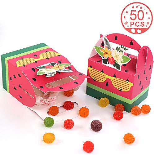 Aparty4u 50Pcs Watermelon Party Favor Boxes, Watermelon Treat Gift Boxes Cute Candy Goodie Bags for Tropical Party Decorations Hawaiian Luau Fruit Party Supplies