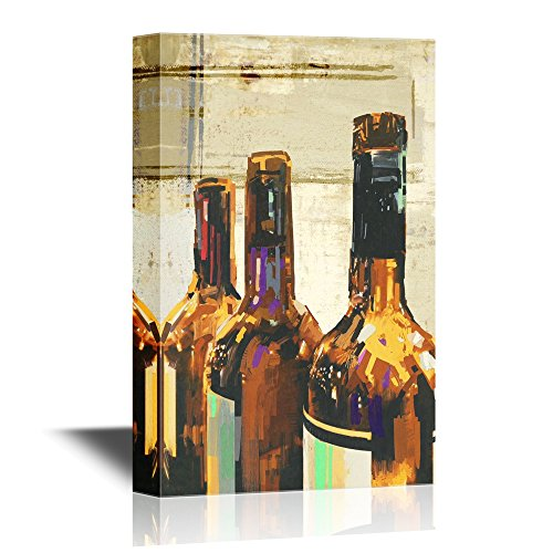 Colorful Painting with Bottle of Wine Illustration