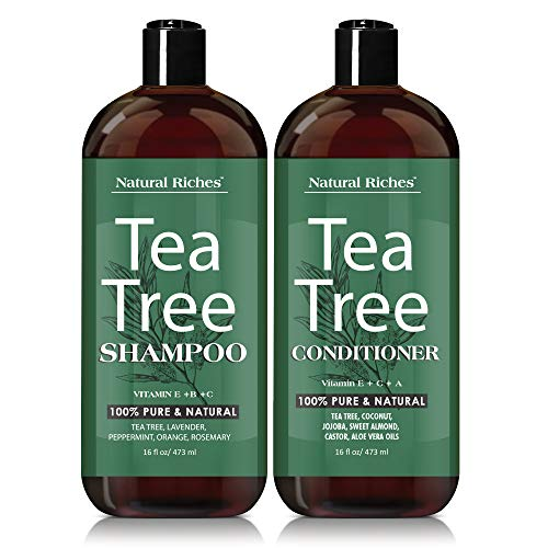 Tea Tree Oil Shampoo and Conditioner Set by Natural Riches 100% Pure Tea Tree Oil, Anti-dandruff for Itchy Dry Scalp, Sulfate Free, Paraben Free - for Men and Women. 2x16oz