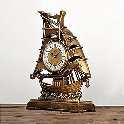 HAOFAY Desktop Antique Gold European Style Clock, Living Room Retro Desk Clock Bedroom Decoration Shelf Clock
