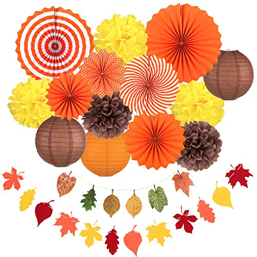 Whaline Fall Party Decorations, Orange Hanging Paper Fans Fall Paper Pompoms Paper Lanterns Maple Leaves Bunting Garlands for Autumn Celebration, Thanksgiving Party, Birthday Decor (16 Pcs) (Party Outdoor Fall)