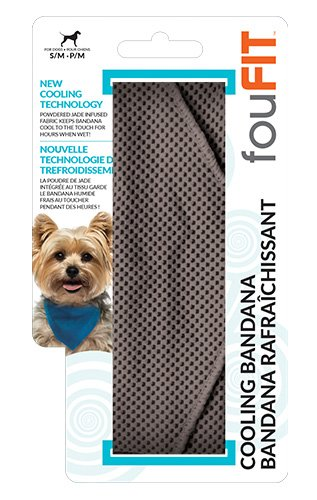 Extra Absorbent Cooling Bandana For Dogs 100% Non-Toxic Lightweight Material, Lowers Body Temperature and Relieves Heat Stress - Stays Cool for 2-5 Hours Small Grey by FOUFIT