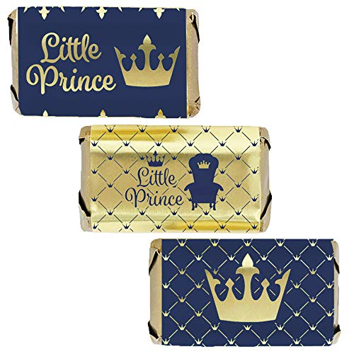 Royal Prince Baby Shower Mini Candy Bar Wrappers | Shiny Foil | 45 Stickers -