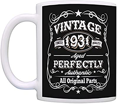 90th Birthday Mug Vintage 1931 All Original Parts Birthday Coffee Cup Gift Coffee Mug Tea Cup Black Kitchen Dining