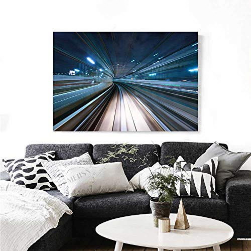 Modern Modern Canvas Painting Wall Art Motion Blur of City and Tunnel Moving Monorail in Tokyo Futuristic Transportation Art Stickers 48
