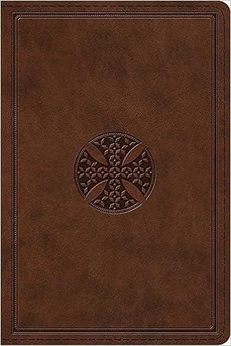 Esv Study Bible Personal Size Trutone Brown Mosaic Cross Design