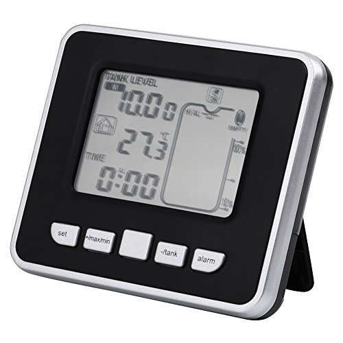 Walfront Ultrasonic Water Tank Liquid Depth Level Meter Sensor with Temperature Display,3.3 Inch LED Display