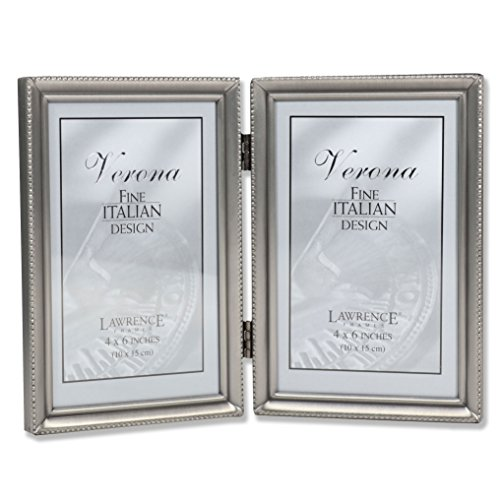 Lawrence Frames Antique Pewter 4x6 Hinged Double Picture Frame - Bead Border Design