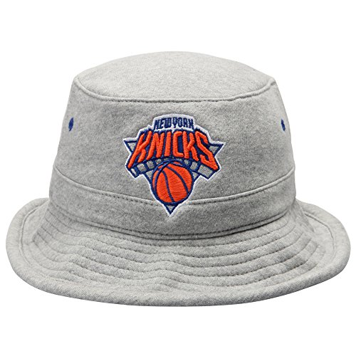 Hat Holiday Knicks New York - Mitchell & Ness Mens New York Knicks Gray Fleece Bucket Hat - NBA Fishing Cap (S/M)
