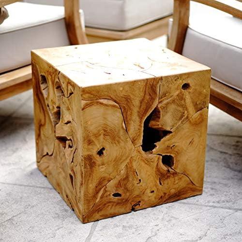 Alveare Home 9741-509 Teak Sliced Side Table