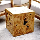 Alveare Home 9741-509 Teak Sliced Side Table, Natural