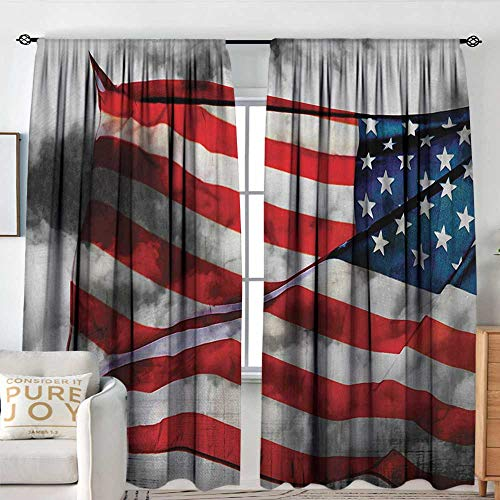 Petpany Blackout Curtains American Flag,Banner in The Sky on Cloudy Mist Display National Symbol Proud of Heritage,Grey Red Blue,Rod Pocket Drapes Thermal Insulated Panels Home décor 100