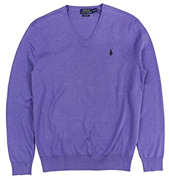 Polo Ralph Lauren Men's Pima V-Neck Sweater, M, Spanish Purple at ...