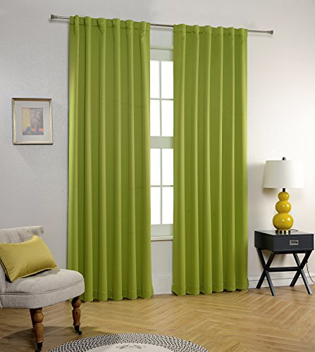 MYSKY HOME Thermal Insulated Back Tab and Rod Pocket Blackout Curtains, 52 x 95 Inch, Apple Green, 2 Panels 95 Green