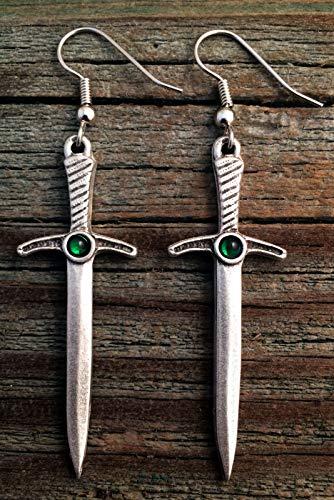 Pewter Swarovski Crystal Claymore Sword Earrings Green Crystal Color