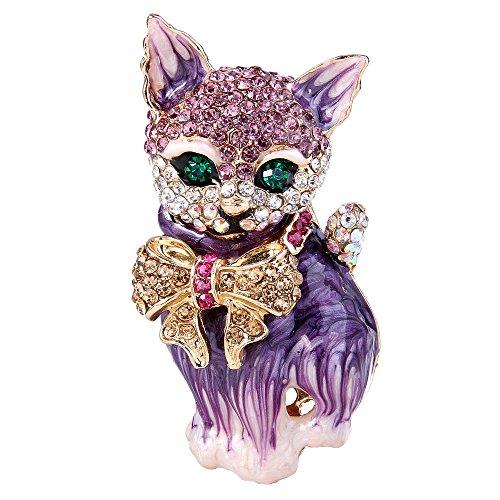 EVER FAITH Plump 3D Cat Pet Austrian Crystal Enamel Brooch Gold-Tone Purple