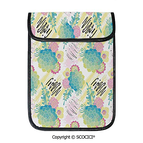(SCOCICI Shockproof Tablet Sleeve Compatible 12.9 Inch iPad Pro Floral Corsage Pattern with Brushstrokes Colorful Flourish Foliage Summer Field Decorative Tablet Protective)