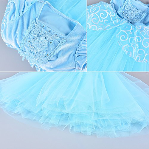 9-layers Tulle Skirt Princess Cinderella Costume Girls Dress Up With Accessories 5T 6T by Party Chili (Image #6)