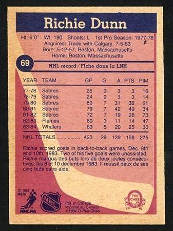 Richie Dunn Autographed 1984-85 O-Pee-Chee Card #69 Hartford