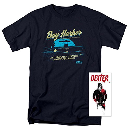 Dexter Bay Harbour Moonlight Fishing T Shirt & Exclusive Stickers (XX-Large)
