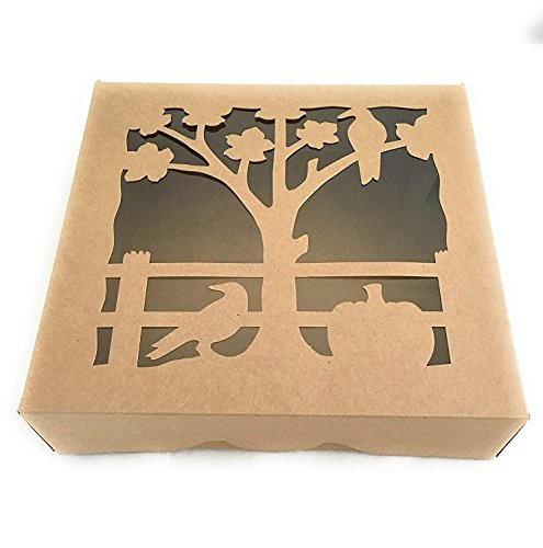 Decorative Pie - Pie Box with Decorative Cut Out Window, 10 X 10 X 2.5 inches, Perfect to Show Off Your Pies and Low Profile Cakes, Set of 10