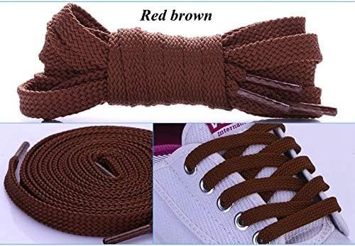 TMYQM 1Pairダブルフラットレース ポリエステル靴ひもファッションスポーツカジュアル靴レースソリッドフラット靴ひも28Colors (Color : Red brown, Size : 120CM)