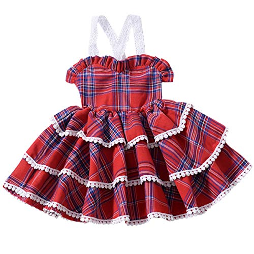 Toddler Little Girls Rainbow Dress Kid Baby Girl Summer Outfit Halter Beach Colorfull Sundress (2T / 1-2 Years Old, Red Plaid Dress)